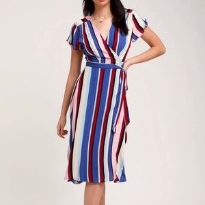 Lulu's  BLUE MULTI STRIPE MIDI WRAP DRESS